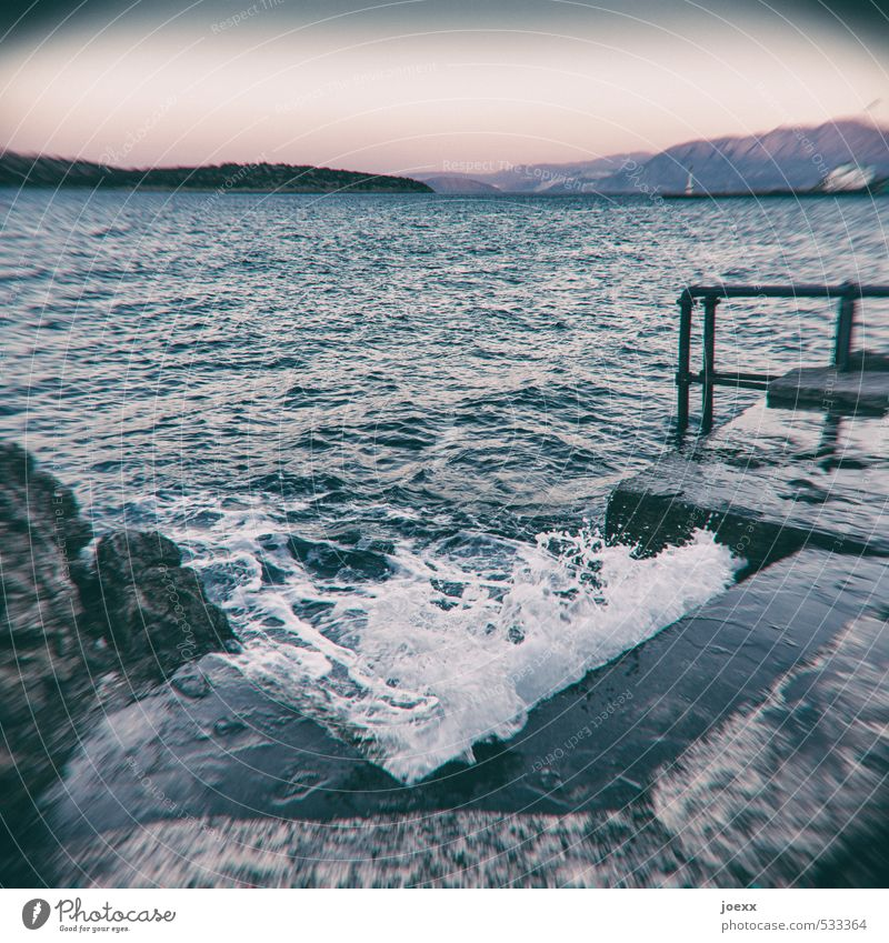 Kneipp Swimming & Bathing Ocean Island Waves Nature Water Sky Horizon Summer Beautiful weather Rock Coast Crete Stairs Old Wet Blue Black White Healthy