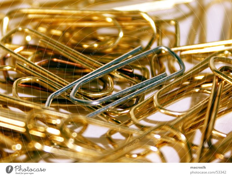 Paperclips in gold Paper clip Heap Chaos Close-up Gold Silver Noble Bright background Macro (Extreme close-up) Work and employment Business