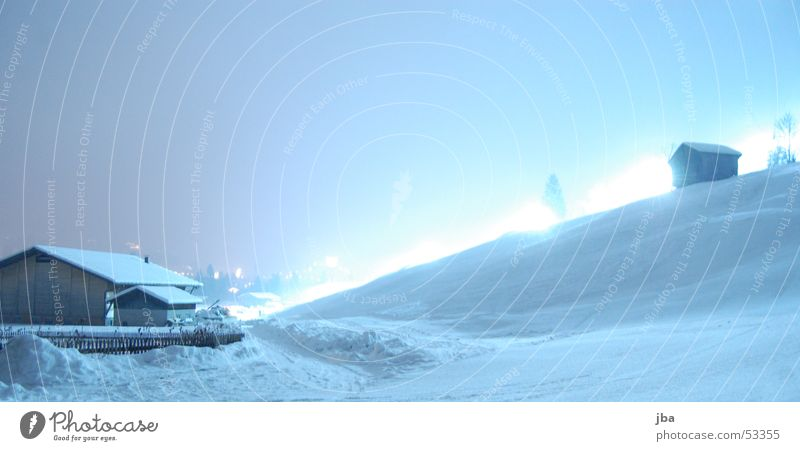 Night in the snow #02 Virgin snow Piste lighting Light Barn Slope Tree Fir tree Long exposure Ski run Lighting Elevator