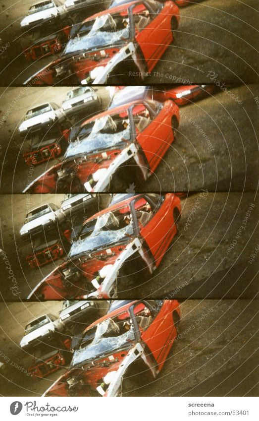Red Car Brown Glass Broken Lomography Scrap metal Scrapyard Windscreen Wrecked car Safety glass Ready for scrap