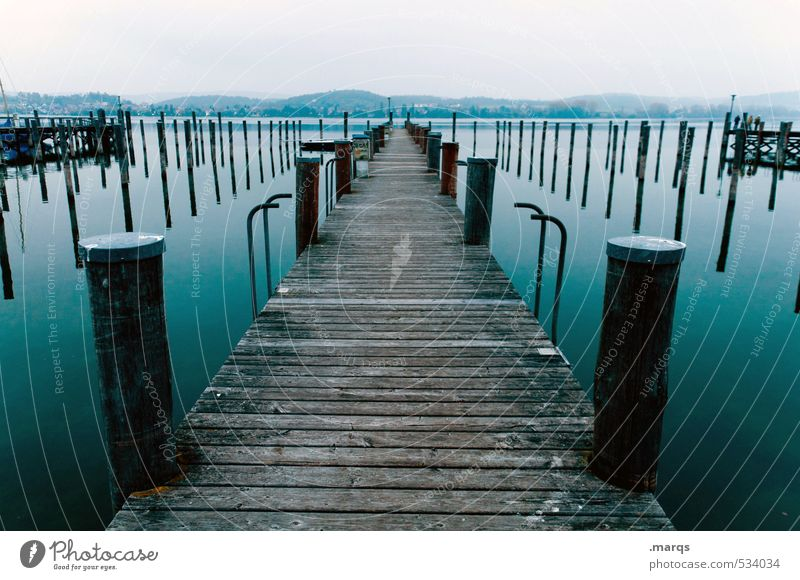 investor Trip Adventure Sky Horizon Lake Lake Constance Footbridge Authentic Fresh Beautiful Moody Relaxation Perspective Calm Colour photo Subdued colour
