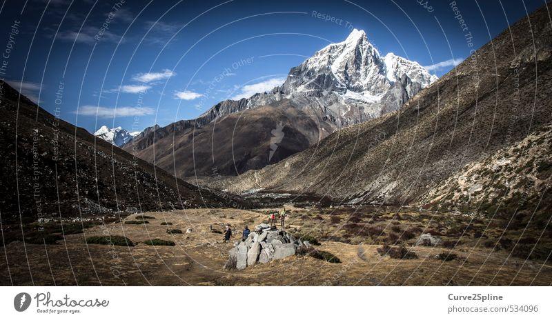 mountain panorama Nature Landscape Elements Sand Autumn Beautiful weather Drought Mountain Peak Snowcapped peak Desert Nepal Authentic Infinity Power Passion