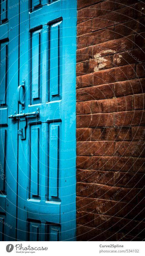 blue door House (Residential Structure) Building Wall (barrier) Wall (building) Door Stone Wood Esthetic Firm Blue Brown Might Unwavering Car door Contrast