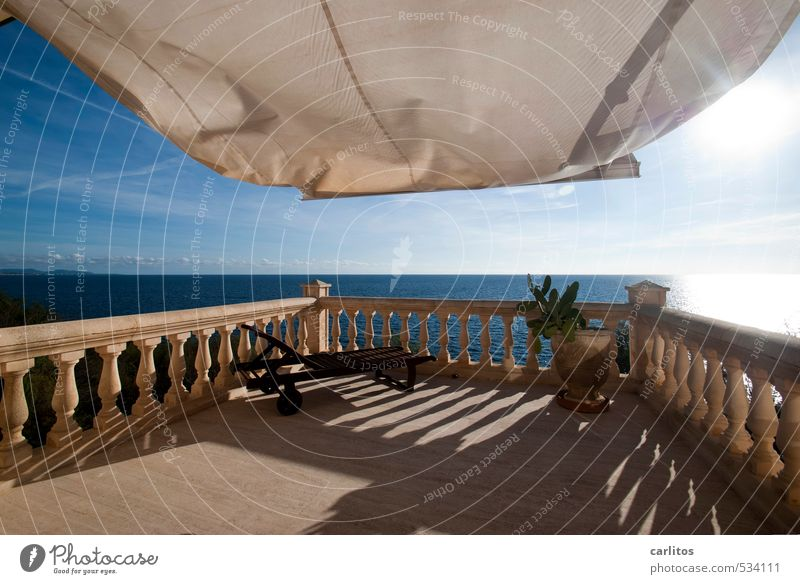 light breeze Elements Earth Air Water Sky Sun Sunlight Beautiful weather Warmth Balcony Terrace Esthetic Natural stone Column Handrail Deckchair