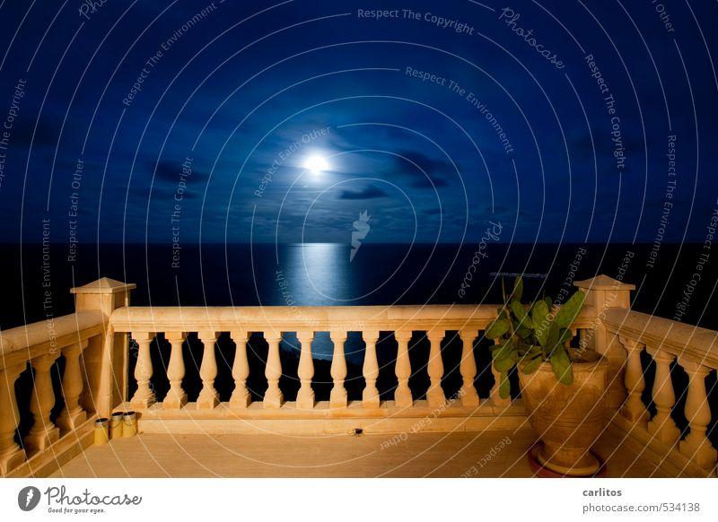 The moon, ladies and gentlemen, Elements Earth Air Water Sky Night sky Moon Full  moon Beautiful weather Ocean Balcony Terrace Esthetic Column Handrail