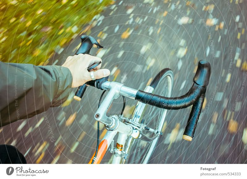 I'm driving. Arm Hand 30 - 45 years Adults Culture Autumn Storm Rain Garden Park Bicycle Metal Sports Hiking Dark Elegant Cold Happiness Enthusiasm Colour photo