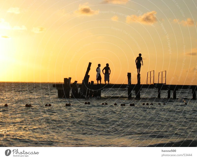 Man Water Sun Ocean Moody Island Cuba Footbridge Mexico