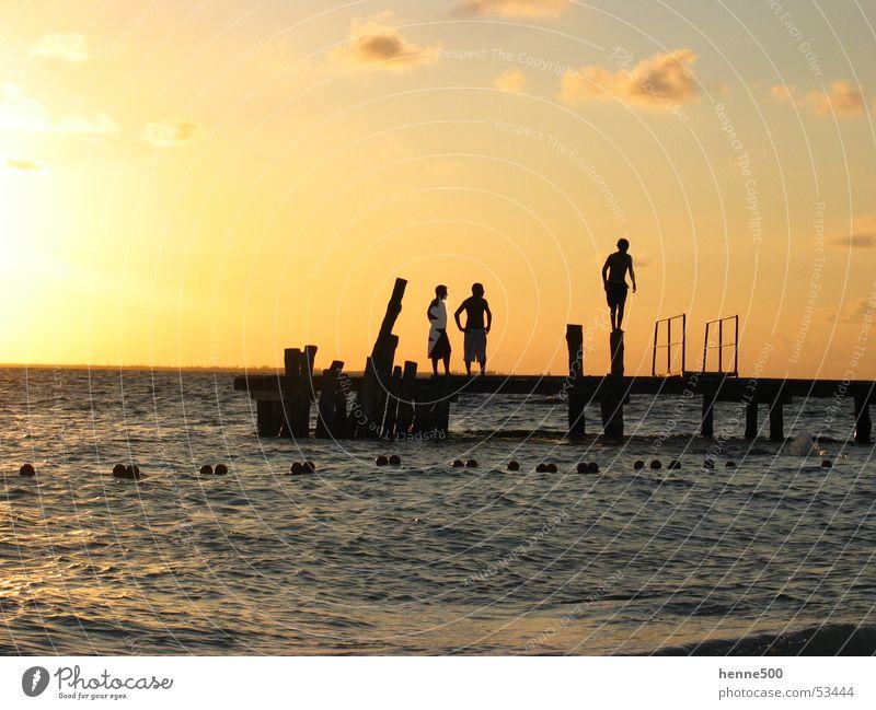 Mexican Sunset Ocean Footbridge Moody Man Light Mexico Isla Island Water Cuba isal mujeres Shadow sundown