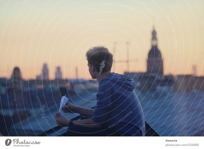rooftops Trip Adventure Freedom Summer Masculine Young man Youth (Young adults) Man Adults 1 Human being Sunrise Sunset Riga Latvia Capital city Skyline Roof