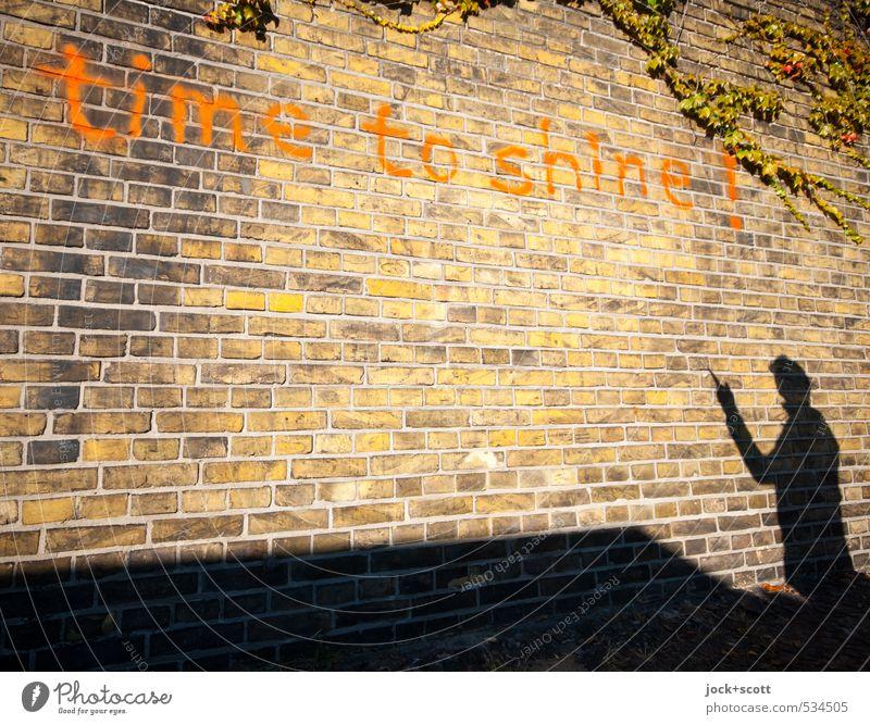 time to shine! Fern Kreuzberg Wall (barrier) Brick Exclamation mark Warmth Joie de vivre (Vitality) Wisdom Experience Idea Creativity Dream Street art English