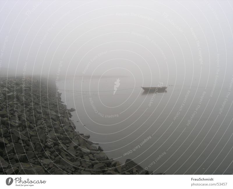 Calm Loneliness Gray Stone Sadness Watercraft Coast Fog Grief River Elbe Bad weather