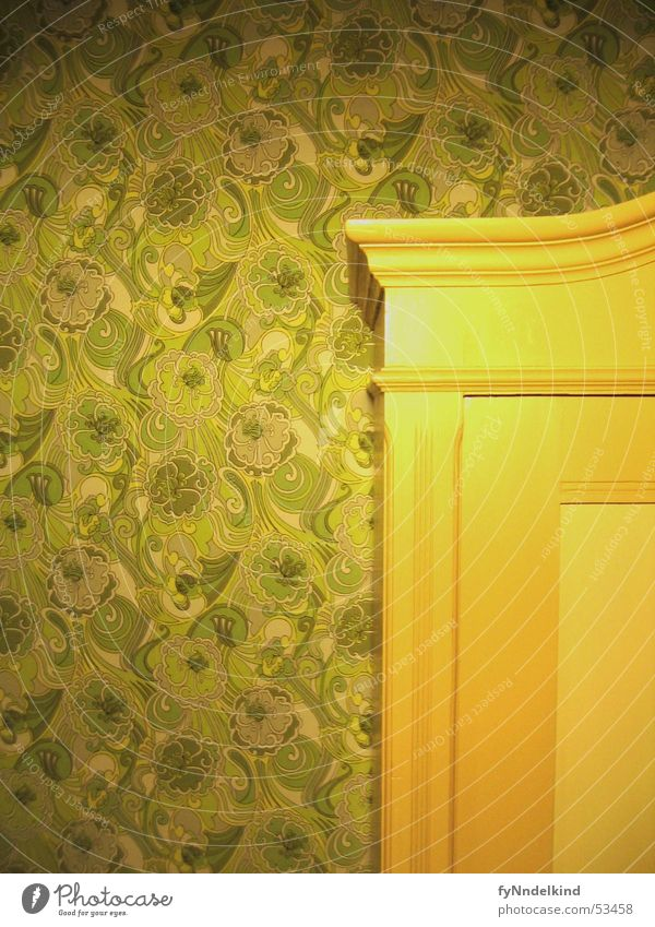 cabinet wall Cupboard Wall (building) Green Wallpaper Retro Sixties Seventies The eighties Pattern Flower Ornament Old-school