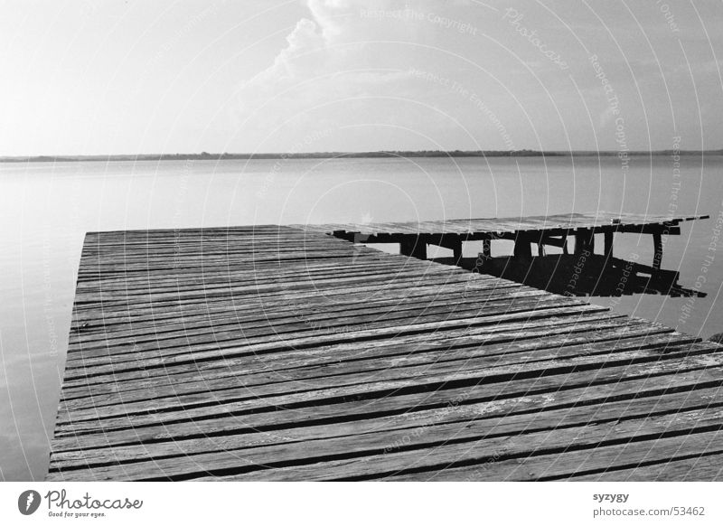 Silence II Wood Calm Footbridge Lake Ocean Relaxation Vacation & Travel Water Mexico Nature Black & white photo