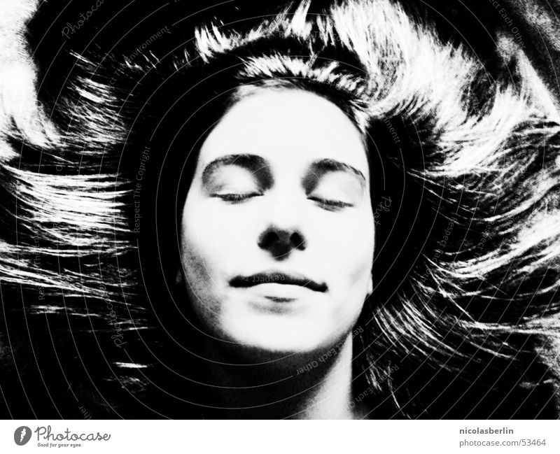 Woman White Beautiful Calm Black Face Hair and hairstyles Sleep Peace