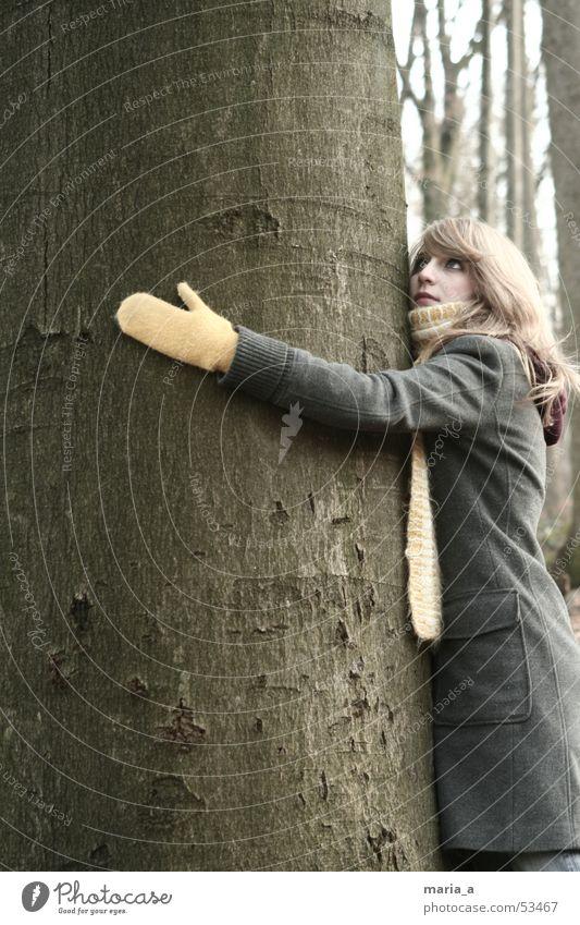 Tree Winter Forest Autumn Coat Scarf Gloves Embrace Pushing Like
