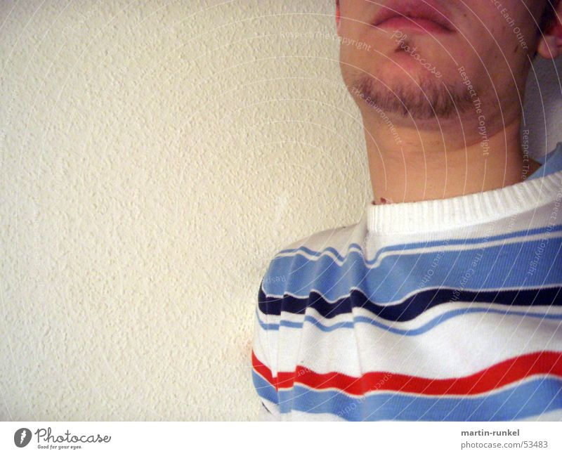 Human being Stripe Neck Ingrain wallpaper Striped sweater