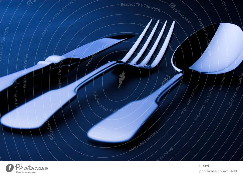 Blue Black Dark Knives Cutlery Fork Spoon Spade