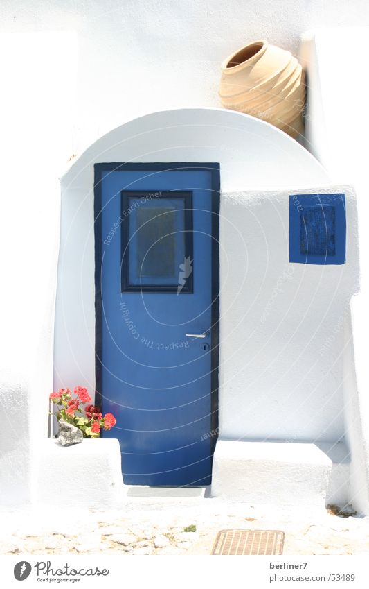 Door to Santorini Summer Light and shadow Greece blue and white Mediterranean sea