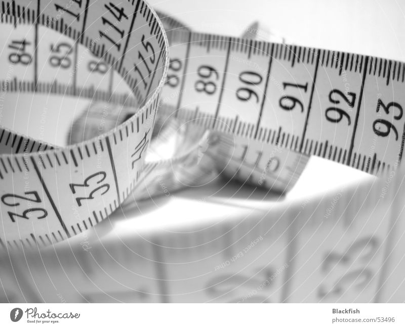 The Women's Scare Digits and numbers Tape measure Tailor Sewing Black White Fat Thin Diet Appetite Length Off-the-rack Size Large Small Macro (Extreme close-up)