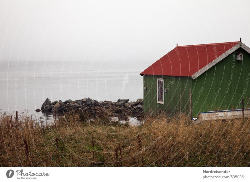 Ocean Loneliness Calm House (Residential Structure) Far-off places Dark Architecture Time Moody Horizon Rain Fog Living or residing Tourism Elements Hut
