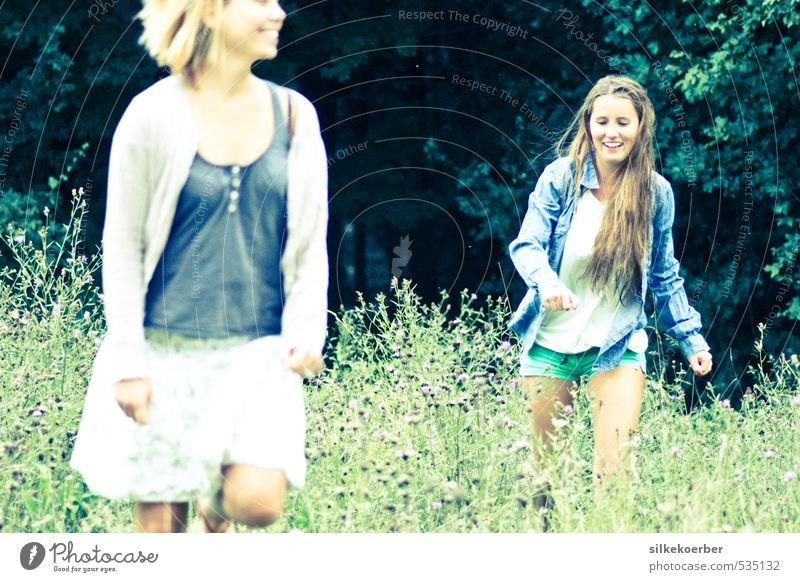 Human being Youth (Young adults) Green Summer Young woman Joy 18 - 30 years Forest Adults Life Meadow Feminine Playing Laughter Natural Friendship