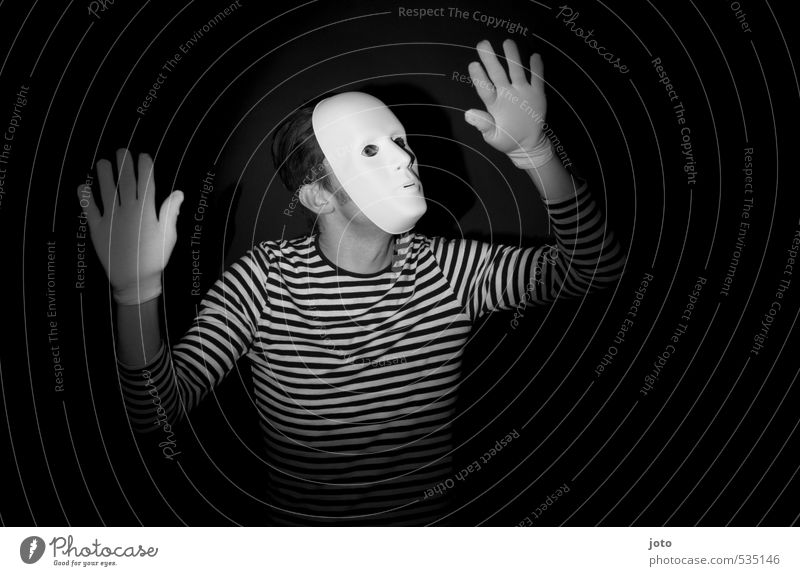 pantomime I Playing Entertainment Man Adults Mask Gloves Dark Creepy Funny Curiosity Surprise Fear Leisure and hobbies Joy Stagnating Irritation Pantomimist