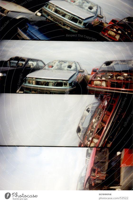 Sky Red Car Broken Silver Scrap metal Lomography Scrapyard Wrecked car Ready for scrap