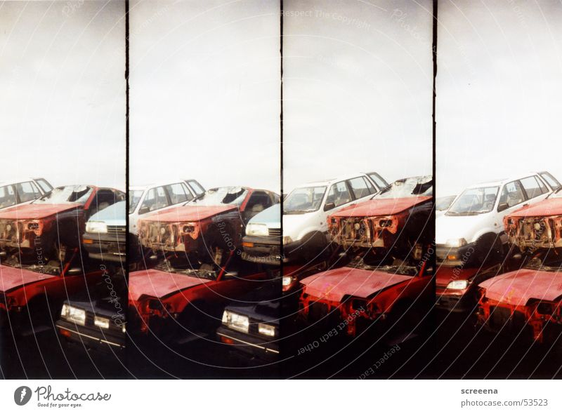 Trash Scapes III Broken Red White Black Car Stack Sky Lomography Scrap metal Wrecked car Scrapyard Ready for scrap Consecutively