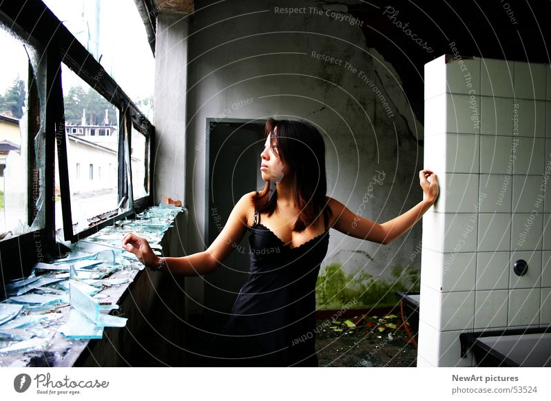 ruin Ruin Model Woman Underwear Window Asians Light Splinter Wall (building) Federal State of Kärnten Villach Factory Glass Room Graffiti