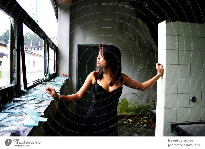 Woman Window Wall (building) Graffiti Room Glass Model Factory Ruin Underwear Asians Splinter Federal State of Kärnten Villach