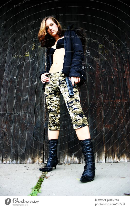 love Model Woman War Wall (building) Weapon Boots Brown Federal State of Kärnten Klagenfurt am Wörthersee army Legs Open