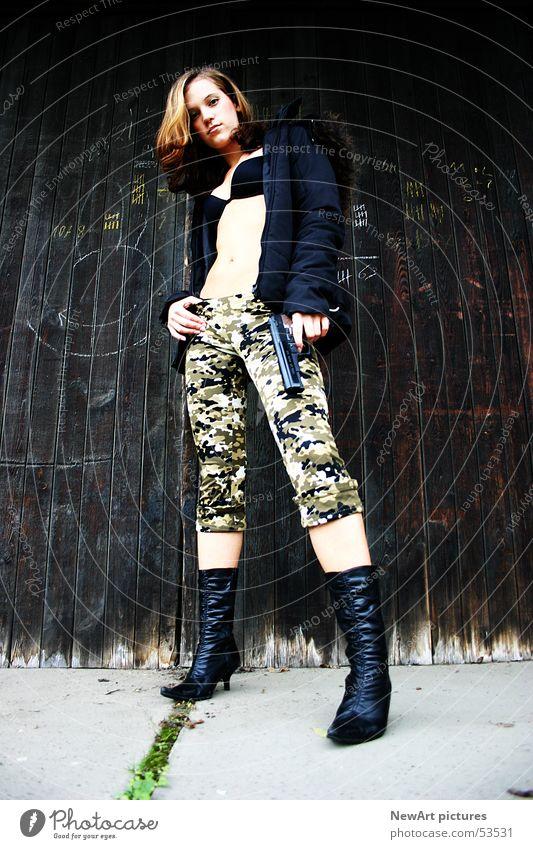 Woman Wall (building) Legs Brown Open Model War Boots Weapon Federal State of Kärnten Klagenfurt am Wörthersee