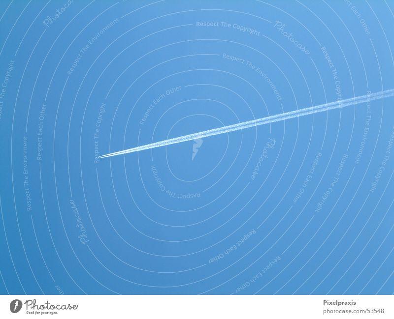 Sky Blue Winter Airplane Vapor trail