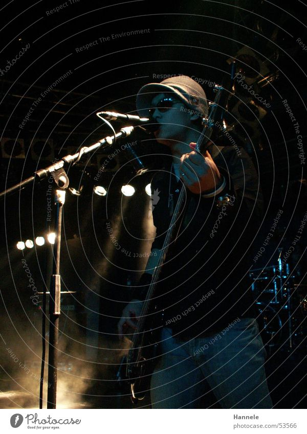 Man Dark Music Rock music Guitar Cap Stage Microphone Sing Song Double bass Rocker Japanese