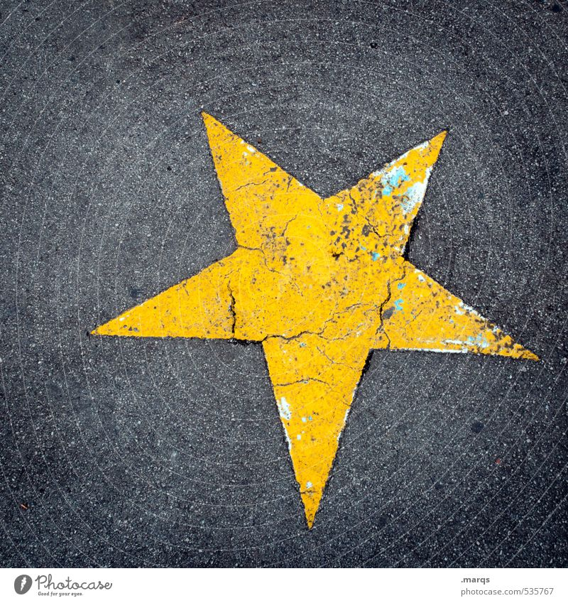 walk of fame Lifestyle Entertainment Feasts & Celebrations Asphalt Sign Signs and labeling Star (Symbol) Old Simple Success Yellow Gray Original Transience