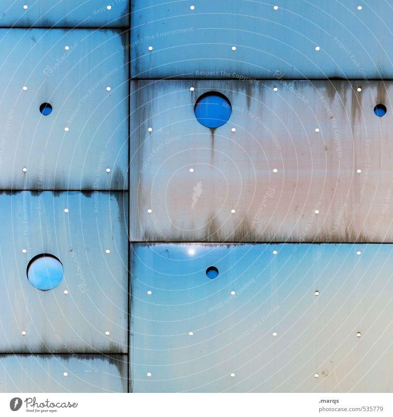 great moment Lifestyle Elegant Style Design Facade Window Metal Exceptional Cool (slang) Sharp-edged Uniqueness Round Blue White Colour Arrangement Surrealism