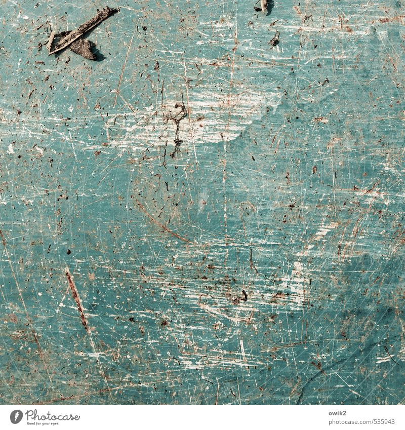 BlueSheet metal Metal Old Dirty Near Trashy Turquoise Ravages of time Copy Space Tracks Abrasion Scratch mark Weathered Dye Simple Blaze of colour