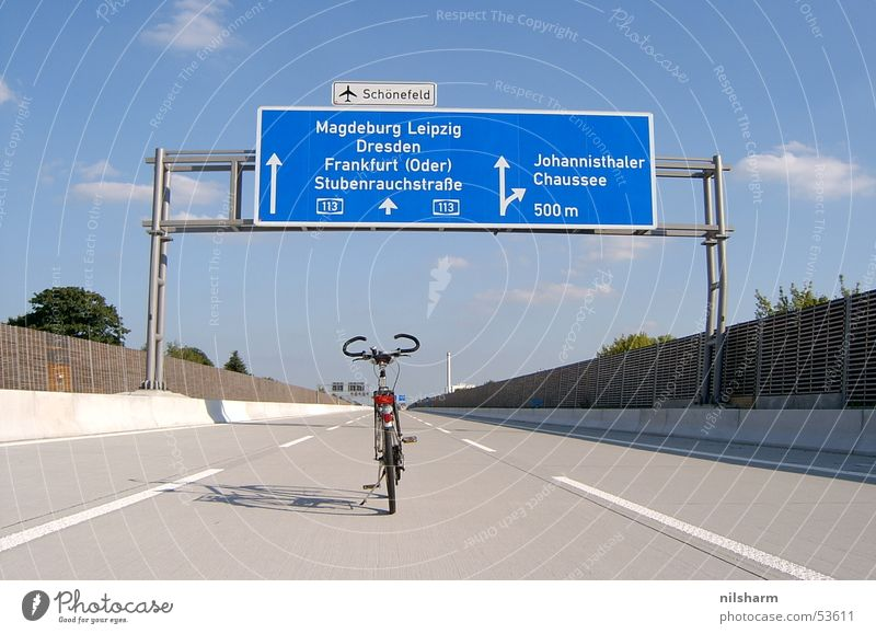 A113 Bicycle Highway Transport Street sign Traffic lane Lane markings Berlin