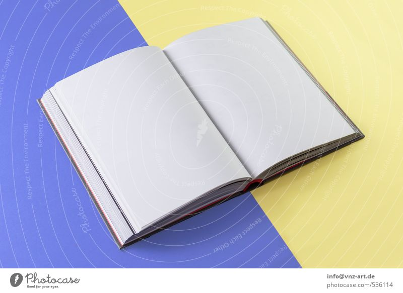 White Yellow Open Empty Book Paper Graphic Side Mock-up