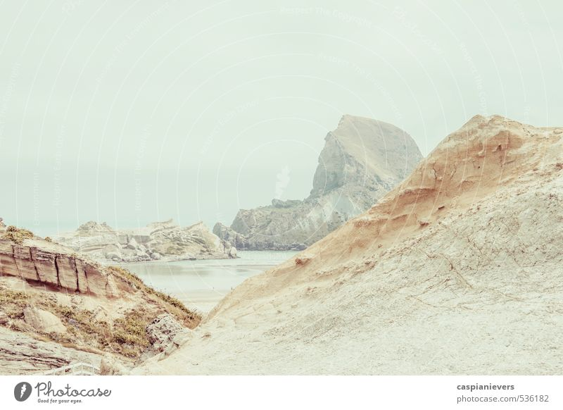Rocky coastline Sky Nature White Water Summer Landscape Calm Beach Environment Gray Brown Fog Beautiful weather Curiosity Bay Landmark
