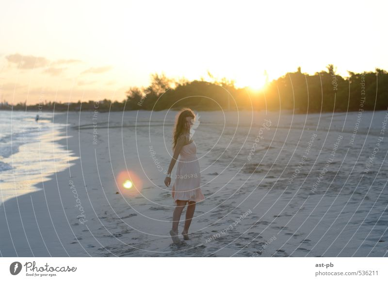 Come with me Feminine 1 Human being Sand Sun Sunrise Sunset Coast Ocean Dress Life calling go with me Colour photo Exterior shot Morning Light Looking