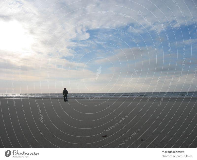 Man Water Sky Ocean Beach Calm Clouds Loneliness Sand Island Amrum