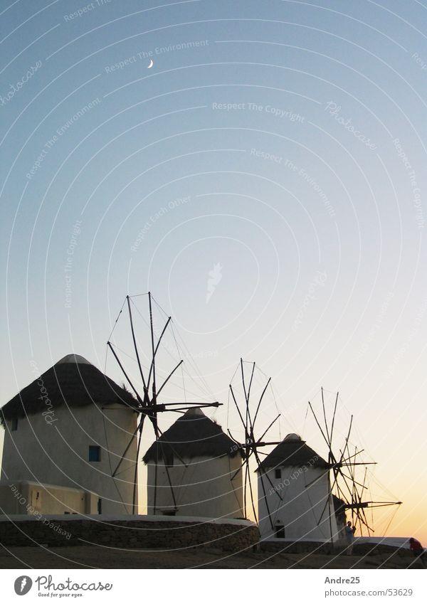 Vacation & Travel Calm Moon Dusk Greece South Windmill Mill Mykonos