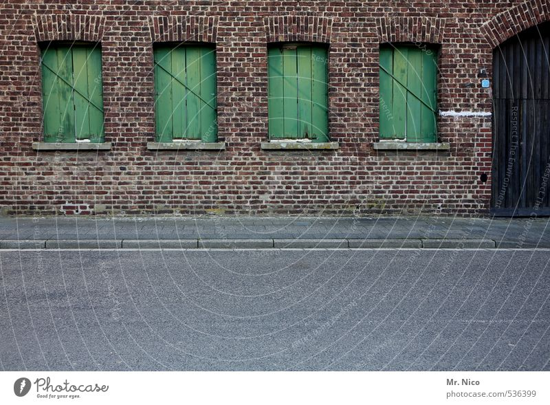 Old Green Loneliness Calm House (Residential Structure) Window Wall (building) Street Wall (barrier) Architecture Building Facade Door Gloomy Closed Asphalt