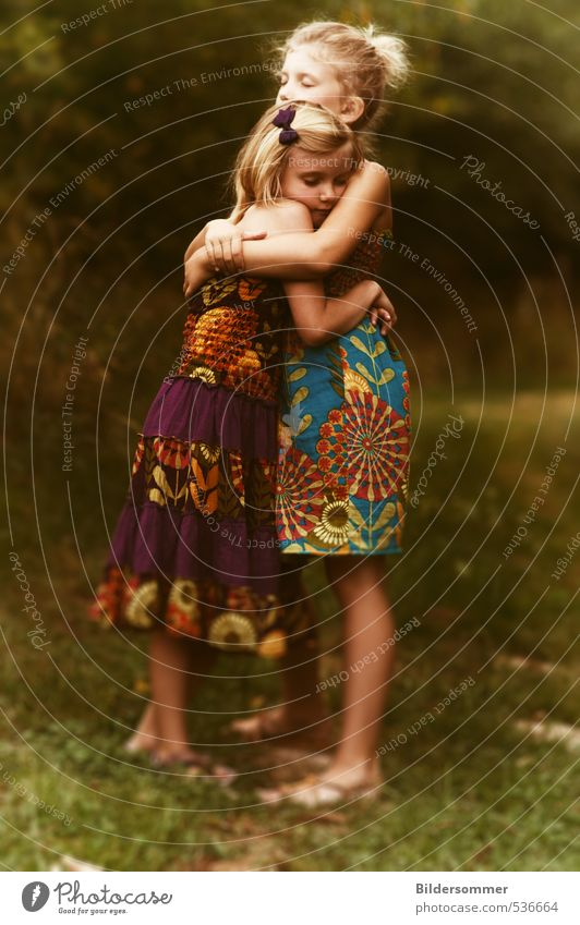 of sharing laughter and wiping tears Feminine Child Girl Brothers and sisters Sister Infancy 2 Human being 3 - 8 years Summer Grass Meadow Dress Blonde