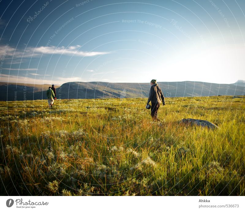 Human being Sky Nature Youth (Young adults) Vacation & Travel Green Landscape Calm Far-off places Young man Mountain Life Meadow Freedom Group Moody