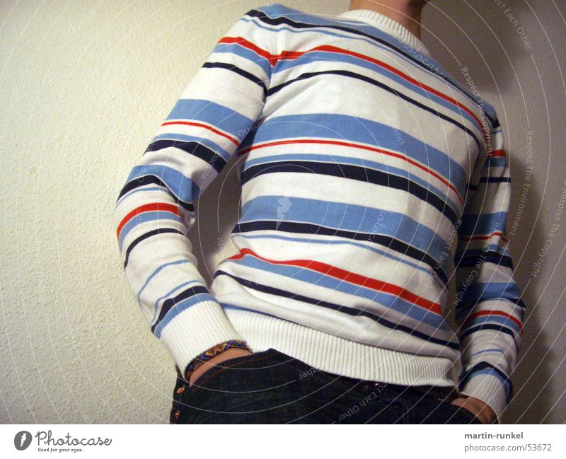 against the wall Stripe Sweater Red Light blue White Gloomy Desire Interior shot operoperic Blue cut off head white wall Wait Boredom with your back to the wall