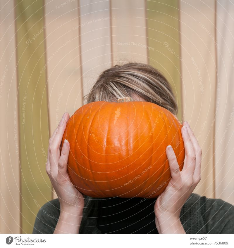 Human being Woman Youth (Young adults) Hand Young woman Joy 18 - 30 years Adults Feminine Funny Hair and hairstyles Head Blonde Vegetable Whimsical Hallowe'en