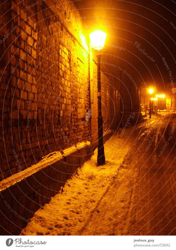 hot and cold... Wall (barrier) Lamp Light Winter Express train Lantern Street darkness road Ice snow