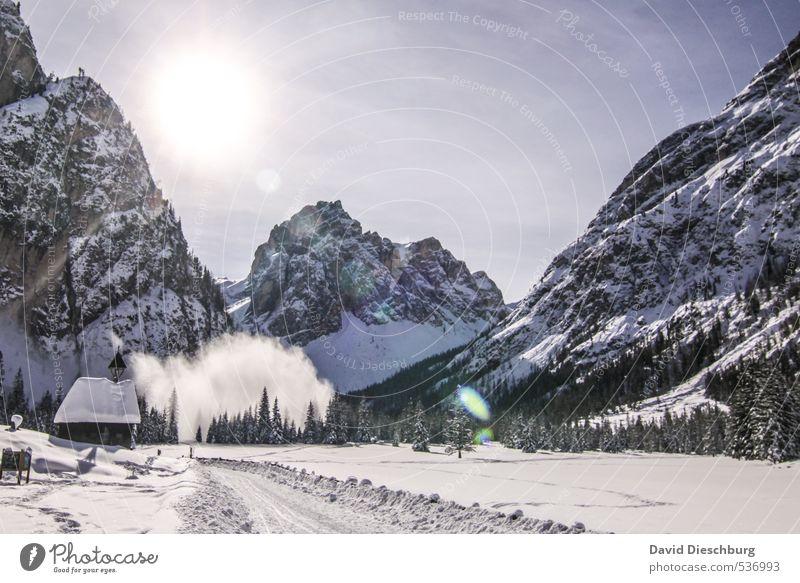 Sky Vacation & Travel Blue White Tree Landscape Winter Black Mountain Lanes & trails Rock Hiking Beautiful weather Dangerous Alps Hut